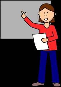 Schülerin prásentiert