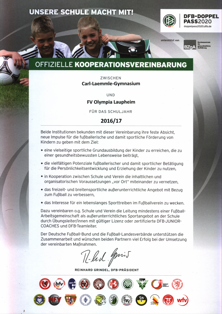 Kooperationsvereinbarung mit FV Olympia Laupheim