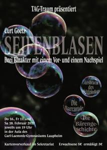 Plakat der Thetaer-AG TAG-Traum: Seifenblasen von Curt Goetz